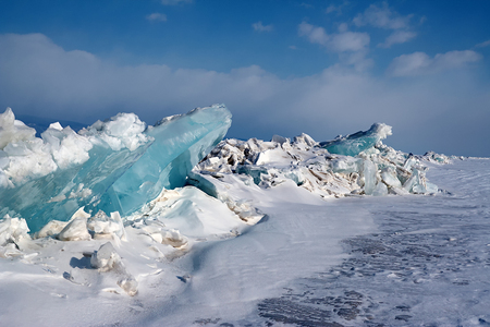 Ice floe on winter Baikal lake.