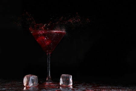 shake with ice and splashes of red