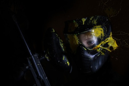 Splashes after direct hit to protect mask. Under the mask mannequin. Imagens