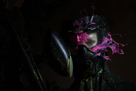 direct hit to the paintball game. Under the mask mannequin.