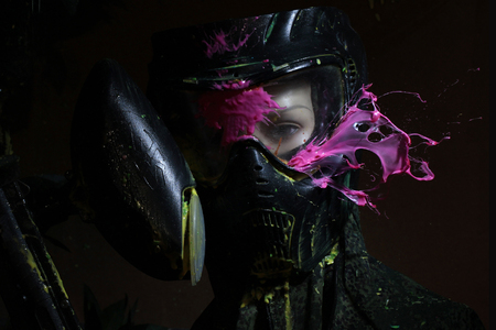 direct hit (paintball game). Under the mask mannequin.