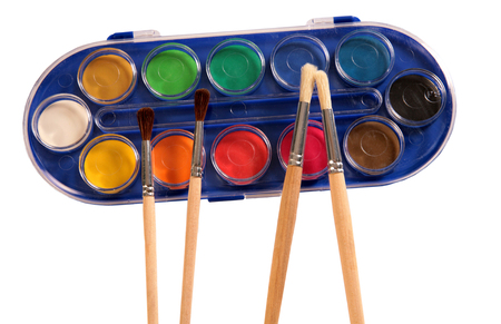 Paints and brush.