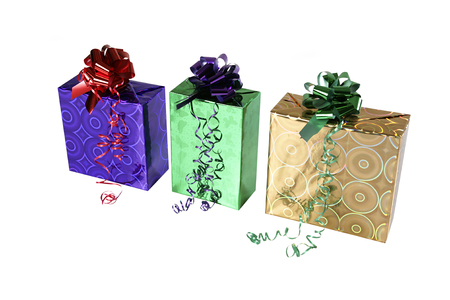 Three gifts isolated on white background