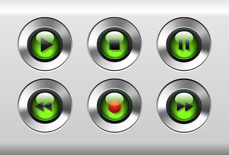 Music Player Buttons Vector