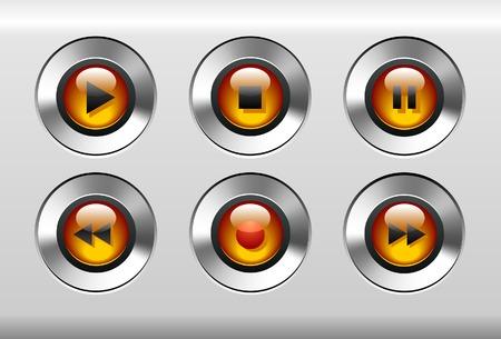 オレンジ色の音楽プレーヤーのボタン  イラスト・ベクター素材