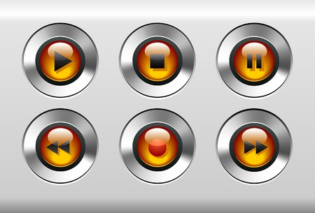 Orange Music Player Buttons Vector