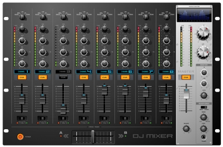 volume knob: Eight Channel Sound Mixer