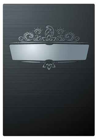 steel: Ornament on Brushed Steel Plate