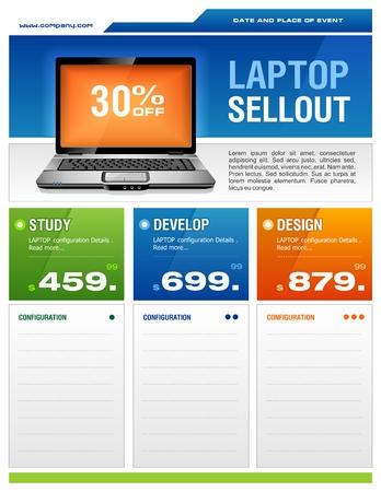 チラシ: クリーンなデザインのノート パソコンの販売チラシ  イラスト・ベクター素材