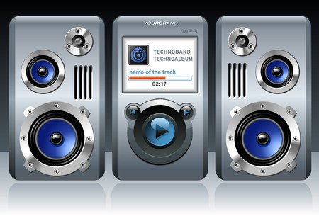 Detailed MP3 Player with Speakers Vector