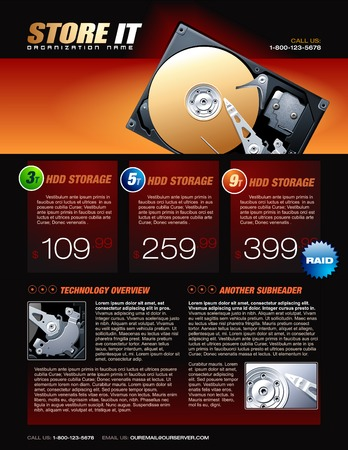 data storage device: Hard Disk promotional brochure Illustration