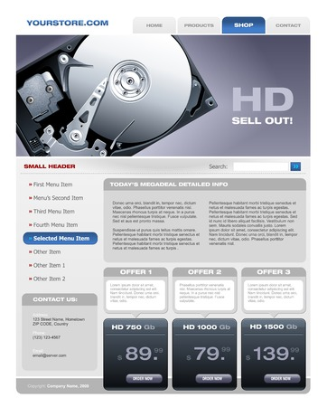 hard disk drive: Hard Disk promotional brochure Illustration