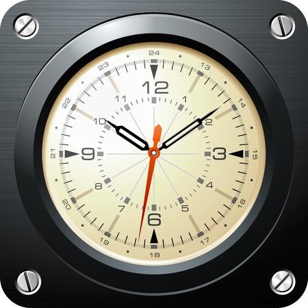 빈티지 군사 비행기 시계 일러스트