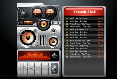 Orange Analog MP3 Player Vector