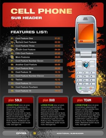display type: Folleto de promoci�n de tel�fonos m�viles Vectores