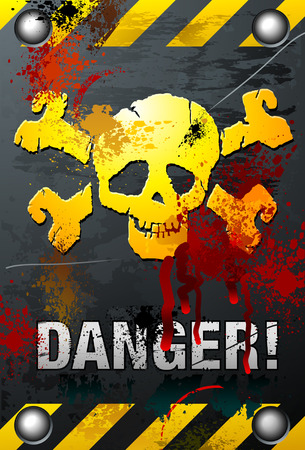 danger: Bloody Grunge Skull Illustration