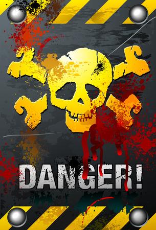 Bloody Grunge Skull Ilustracja