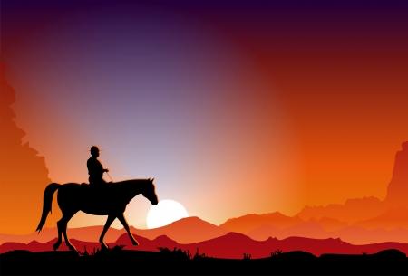 wild wild west: Cowboy in Tramonto Vettoriali