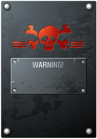 gravure: Red Skull Grungy sul metallo Vettoriali