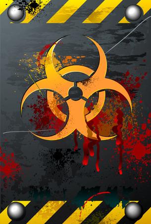 지저분한 피 묻은 생물 학적 표지판