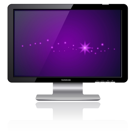 tv monitor: Purple LCD Monitor Illustration