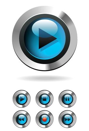 Chrome Play Button Stock Vector - 6787158