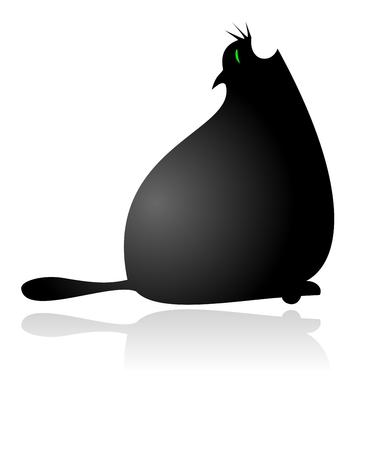 Fat Cat Yawning Vector