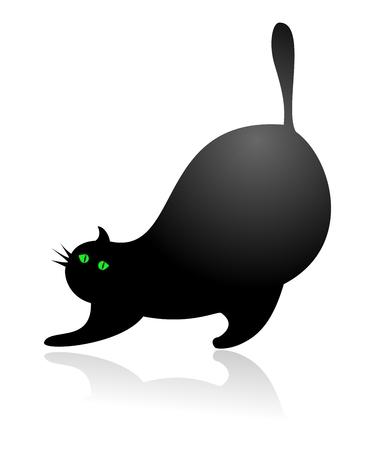 Big Fat Cat Stretching Vector