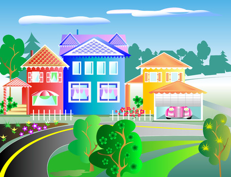 Street with Houses Illustration