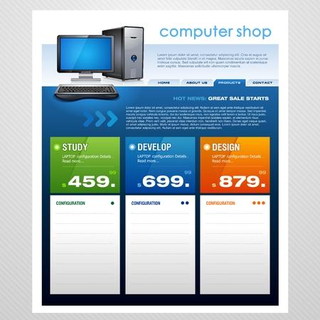 display type: Plantilla de tienda de equipo  Vectores