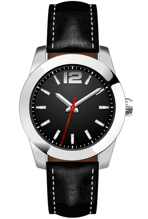 Classic Analog Men's Wrist Watch detailed vector Çizim