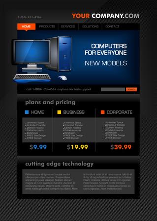 Desktop Computer Shop Web Template Vector
