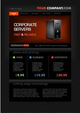 Web hosting page template