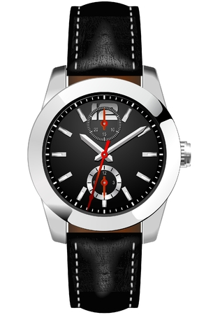 Classic Analog Mens Wrist Watch detailed vector 向量圖像