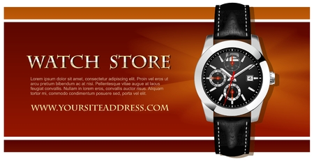Classic Analog Mens Wrist Watch detailed vector Vector
