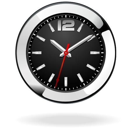 Classic office clock, black, Stock Vector - 8040561