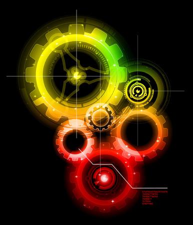 Glowing techno gears