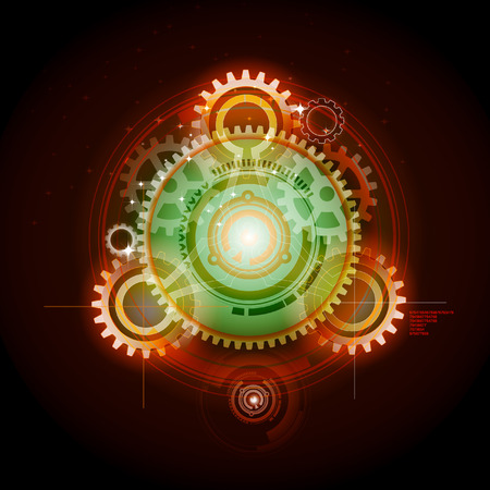 Glowing techno gears   イラスト・ベクター素材