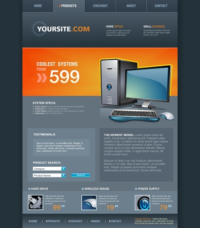 Computer Shop web page template  イラスト・ベクター素材