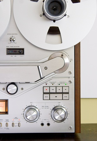tape recorder: Reel-to-reel recorder controls Stock Photo
