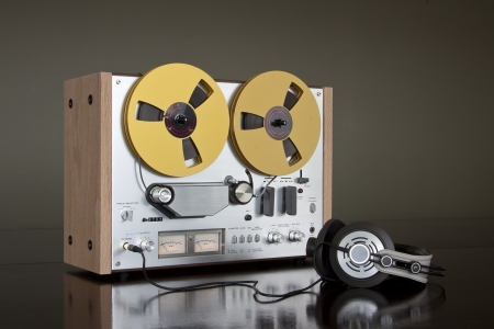 analogs: Vintage Reel-to-Reel stereo tape deck recorder