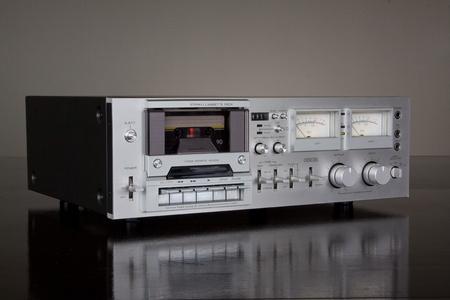 cassette: Vintage Stereo Cassette Tape Deck Recorder