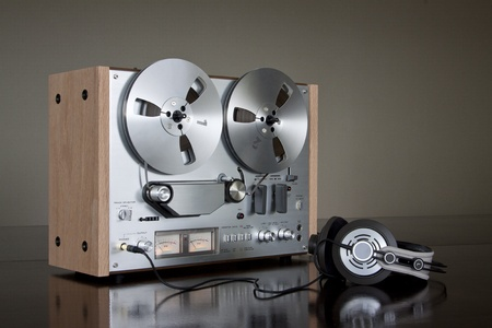 audio: Vintage Reel-to-Reel stereo tape deck recorder