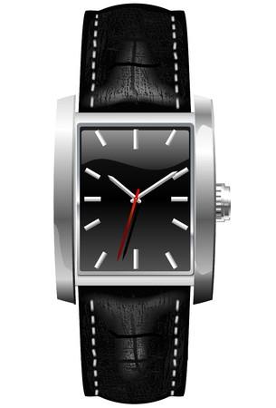 cintur�n de cuero:  Reloj anal�gico cl�sico masculino con cintur�n de cuero Vectores
