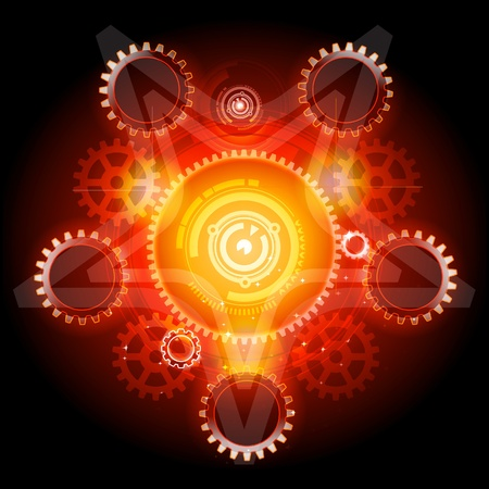 Gloeiende Techno Pentagram met gears  Stock Illustratie