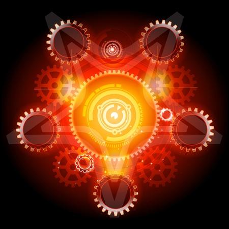 Glowing Techno Pentagram with gears Banco de Imagens - 9151659