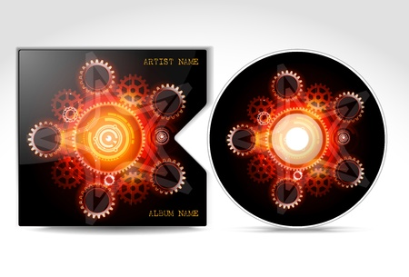CD Cover Design Template, detailed  Çizim