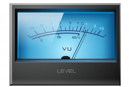 Analoge VU Meter blauw, gedetailleerde  Stock Illustratie