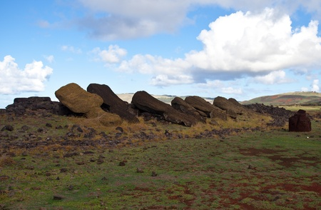 toppled: Toppled Statues on Easter Island Stock Photo