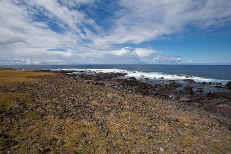 Easter Island Coastline, open space, white waves, deep blue skies